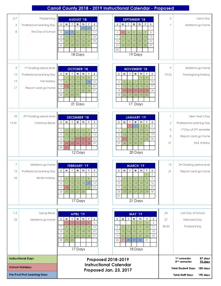 Board Of Education To Review Proposed Calendars Carroll